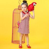 2017 HotSale Dziewczynek Czerwone Paski Sukienka Śliczna Kieszeń Dekoracji Mody Zaprojektowane Księżniczka Eleganckie Ubrania 2345678 Lat