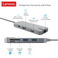 Lenovo Original 8 In 1 Hub USB C To RJ45 Ethernet USB 3 0 TF SD