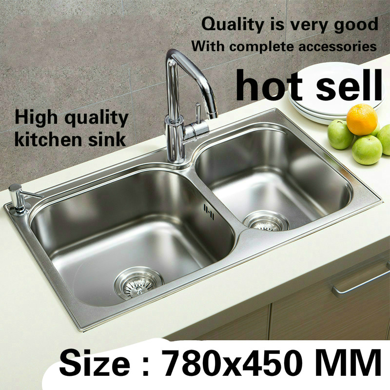 Free Shipping Luxury High Quality Kitchen Double Groove Sink Durable Wash The Dishes 304 Stainless Steel Hot Sell  780x450 MM