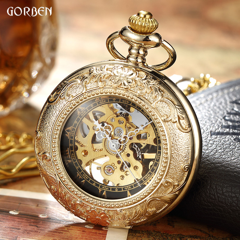где купить  Luxury Retro Golden Hollow Skeleton Mechanical Pocket Watch Mens Fob Chain Steel Exquisite Sculpture Women Men Pocket Wath Gifs  по лучшей цене