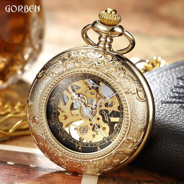 Luxury Retro Golden Hollow Skeleton Mechanical Pocket Watch Mens Fob Chain Steel Exquisite Sculpture Women Men Pocket Wath Gifs