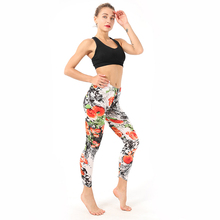 Womens Leggings Retro Flowers Print Ink Painting Stretch Pants Female Running Workout Gym Fitness Yoga