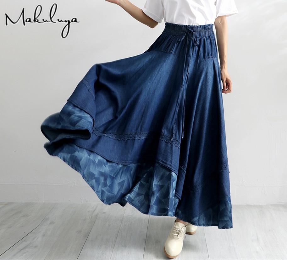 Makuluya Women New Fashion Denim All-match Loose Casual Denim Elastic Waist Long Pleated Skirts High Waist Autumn Spring QW