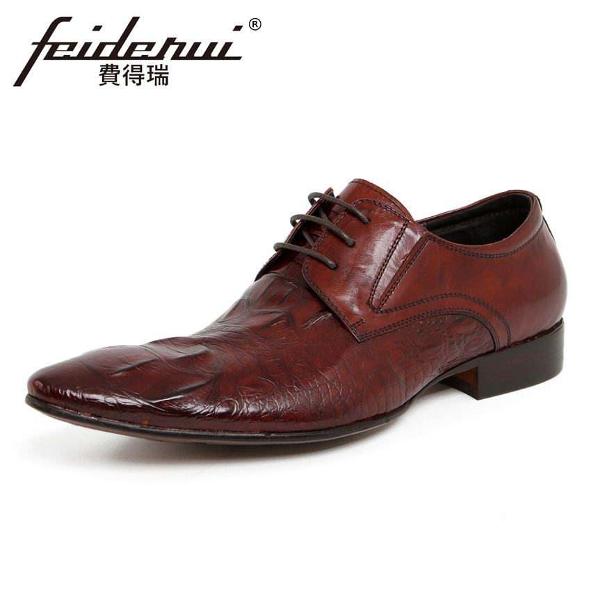 Luxury Alligator Handmade Pointed Toe Derby Mens Footwear British Genuine Leather Man Formal Dress Wedding Party Shoes YMX100