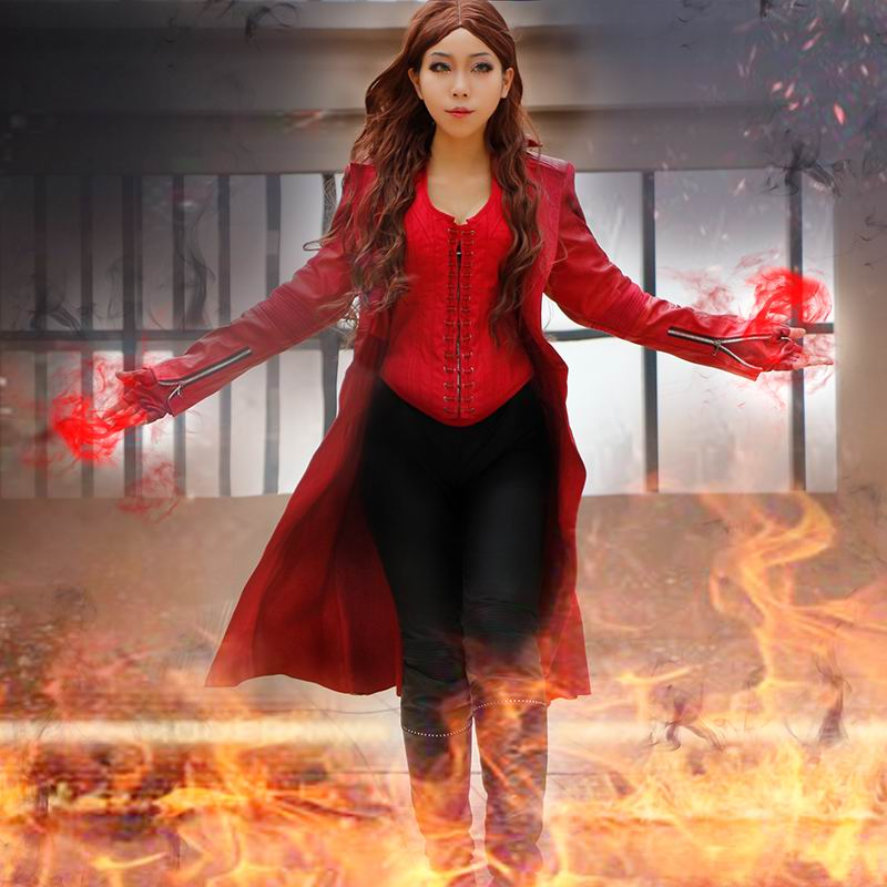 Captain America Civil War Cosplay Costume Outfit Scarlet Witch Wanda Maximoff Cosplay Costume Adult Women Halloween Custom Made