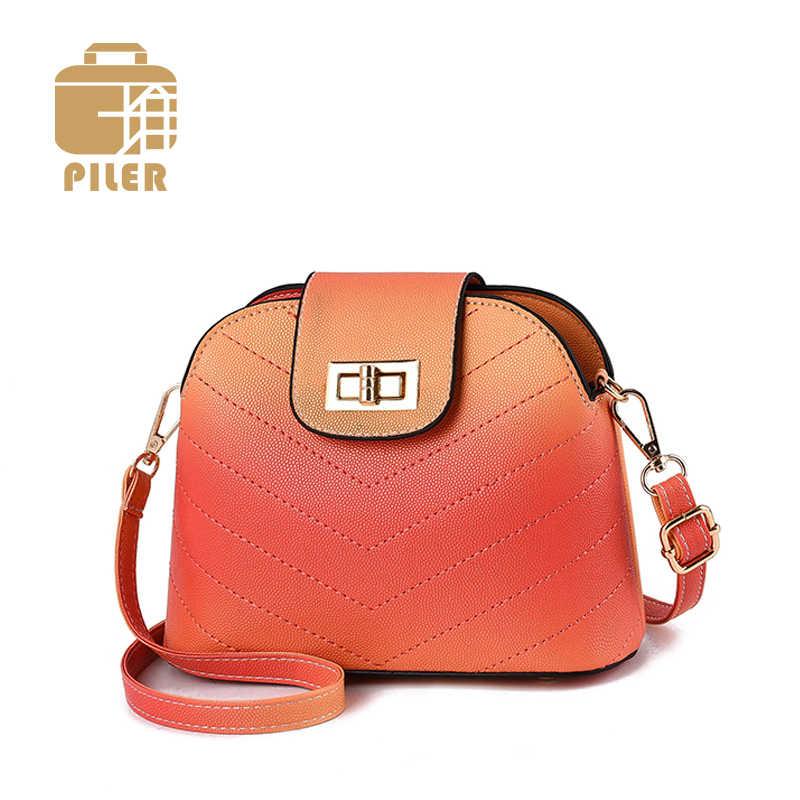 Женская Классическая модная сумка через плечо простая в виде ракушки кожаная
