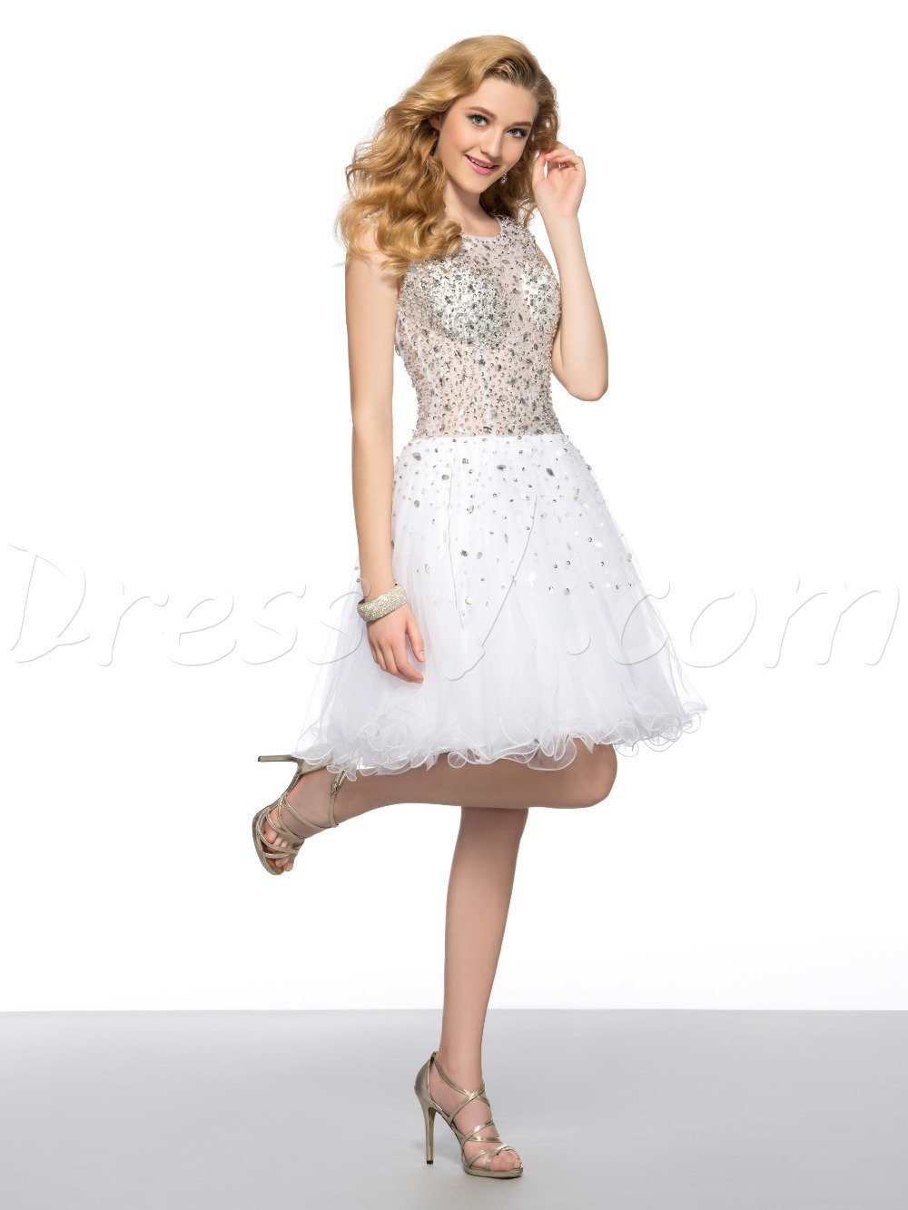4229211b91d5f Dazzling Short White Cocktail Dresses Homecoming Dresses Scoop Sheer ...