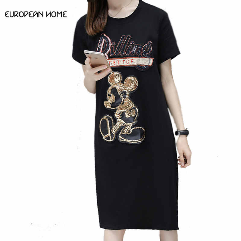 New Minnie Mouse printing 2019 Summer Dress Women High quality Fashion  Loose Plus size Short-sleeved T-shirt dresses Female