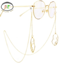 F.J4Z Fashion Novel Gold Alloy Women Face/water Drop Sunglasses Chain