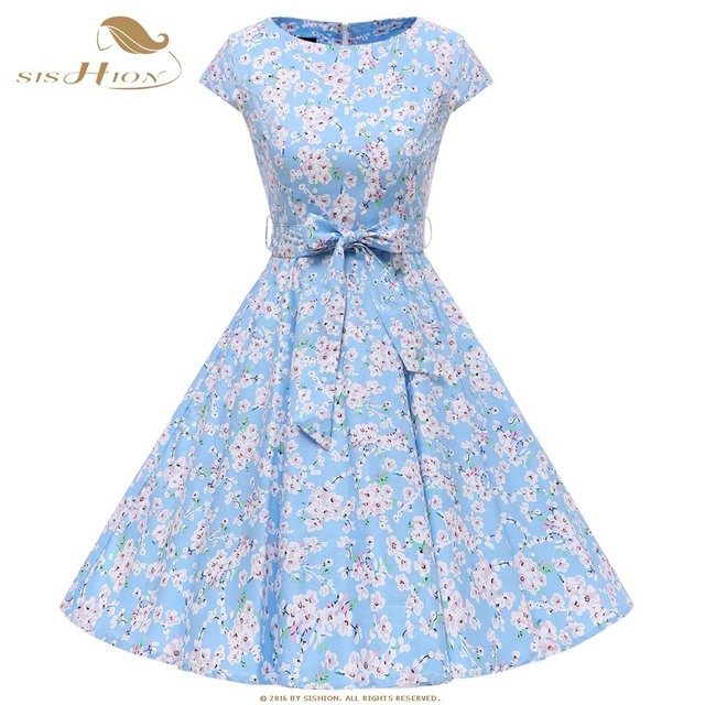 2e41443ac80cd SISHION 1950s 1960s Retro Vintage Dresses Cap Sleeve Belt Decoration 360  Degrees Swing Flower Floral Women Summer Dresses VD0780