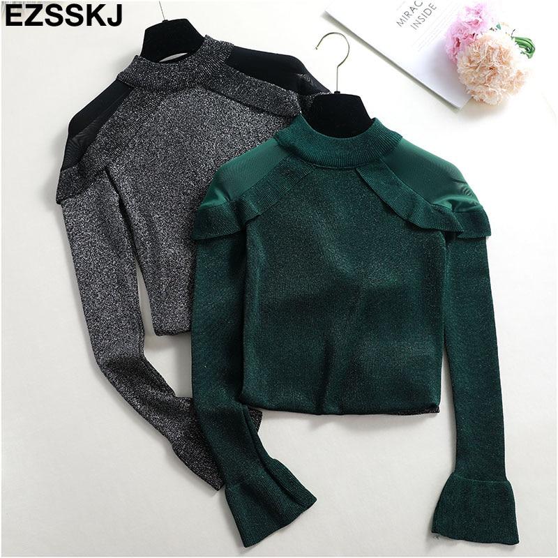 BlingGlri Womens Lace Turtleneck Knit Sweet Elegant Pullover Sweater