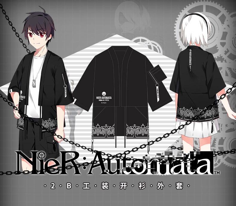 [Stock]Game NieR : Automata figure 2B Printed Cosplay Kimono Jacket Summer Cotton Top TEE New animation Tee 2017 free shippng