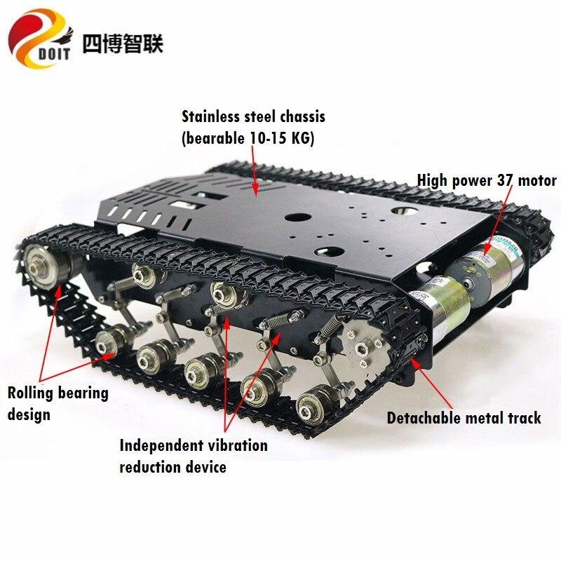 Chasis de tanque de Metal de carga grande SZDOIT TS900 chasis de oruga de absorción de golpes de Metal Robot inteligente + Motor de alta potencia ensamblado Tanque de depósito de aceite de aluminio desenfocado/tanque de aceite con filtro Universal OCC025