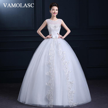 VAMOLASC Illusion Crystal O Neck Ball Gown Lace Appliques Wedding Dresses Bow Sash Tank Backless Bridal Gowns
