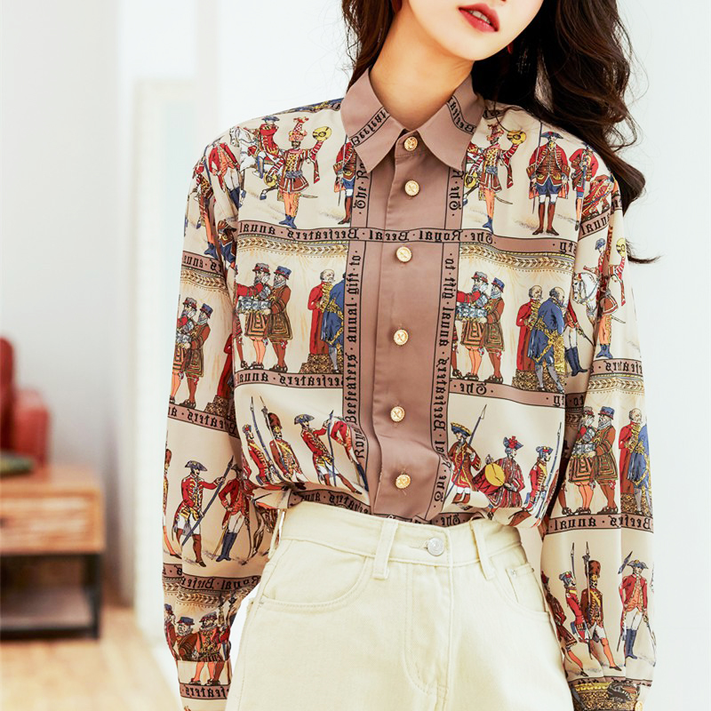 Court Baroco Style New Spring Autumn Printing Shirts Women Vintage Full Sleeve Single-Breasted Blouse Women Tops Clothes SL393