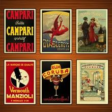 Vintage 1900s bebidas alcoholicas licor Ads Poster Campari pinturas clásicas de lona pegatinas de pared decoración del hogar regalo