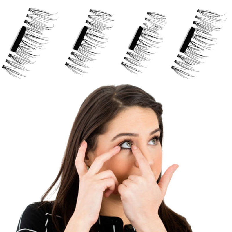 Hot! 4 Pcs/Pairs 3D Magnetic False Fake Eyelashes Extension Eye Beauty Makeup Accessories Soft Hair False Eyelashes
