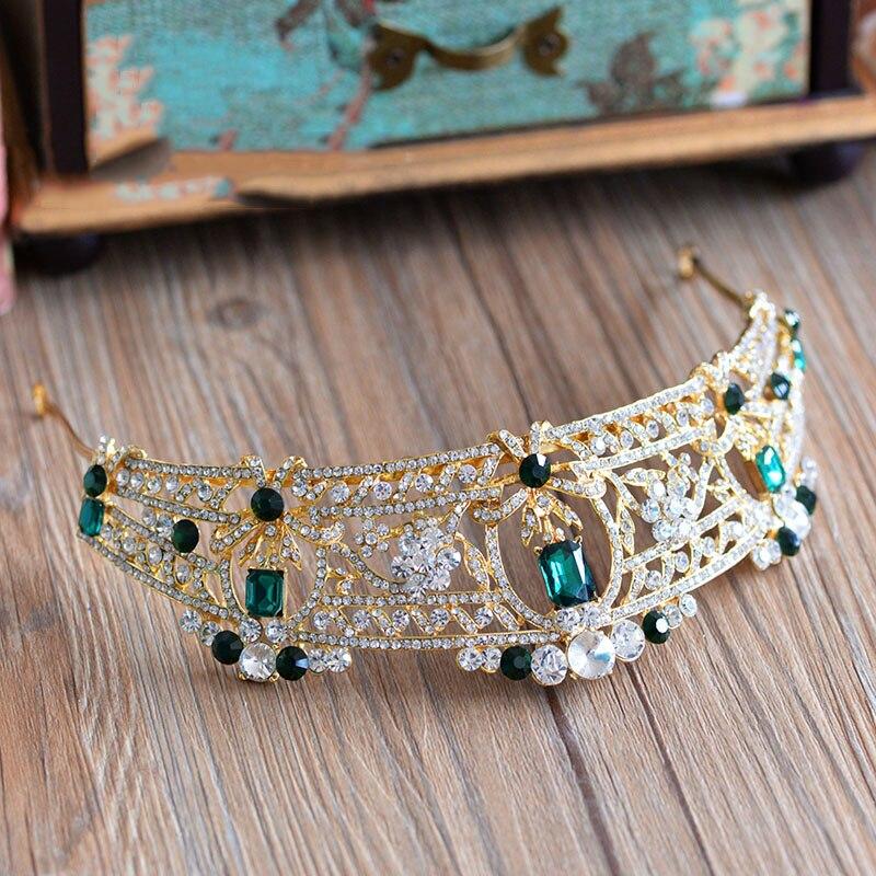 HIMSTORY Vintage Classic Prom Luxury Hair Jewelry Baroque Green Rhinestone Crystal Bridal Tiara Wedding Queen Crown Diadem