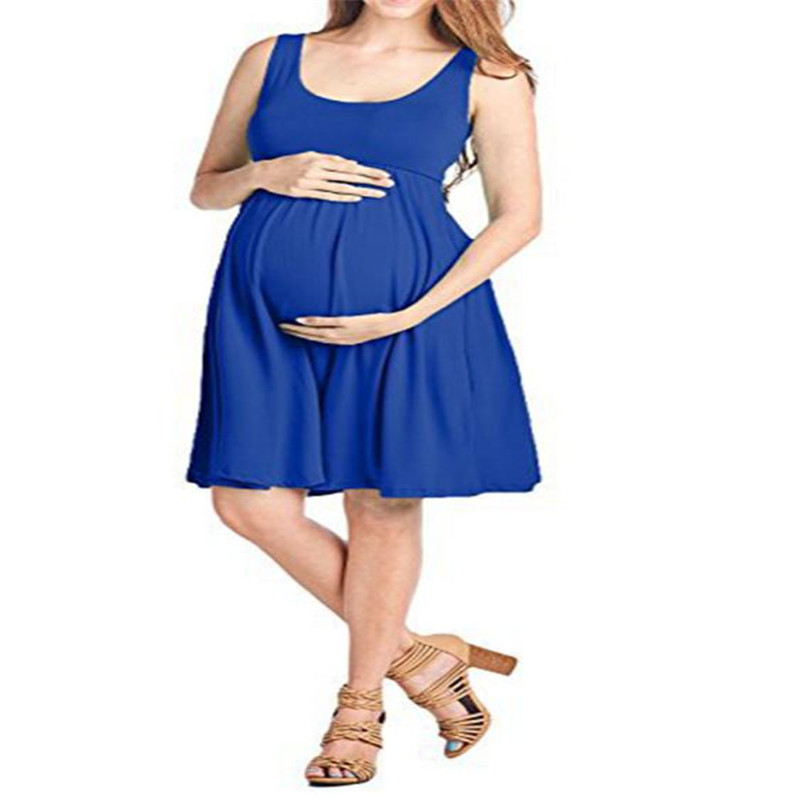 wholesale drop shipping Fashion Womens Pregnants O-Neck Sleeveless Nursing Maternity Solid Vest Dress Fashion Causal S3JUN11 ...