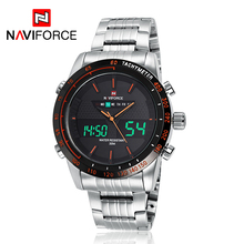NAVIFORCE 9024 Men Watch Luxury Steel Quartz Digital LED Watch Army Military Sport 3ATM Waterproof Wrist watch Relojes Hombre