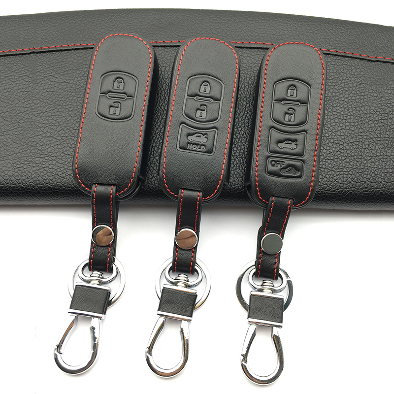 цена на 100% leather car key cover 4 button for MAZDA 3/6 / MX-5 Miata (2009-2012) CX-7 / CX-9 (2010-2012) Fob shell cage