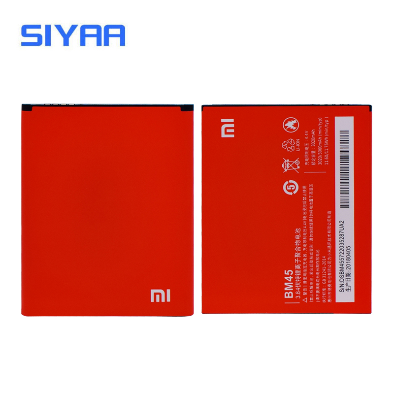 Original SIYAA Battery BM45 For Xiaomi Redmi Note 2 Hongmi Note2 Replacement Batteries Original Battery High Capacity 3020mAh