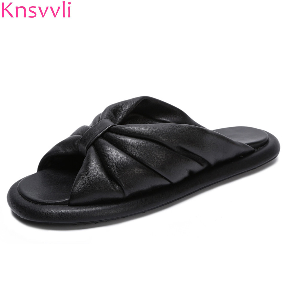 Knsvvli Black Genuine Leather Mules Shoes Women Outdoor Bowknot Soft Sole Flat With White Casual Women Slippers Beach Shoes
