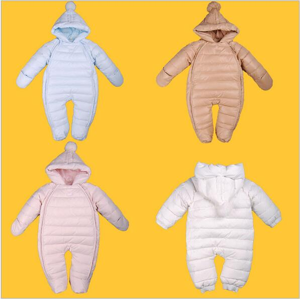 Newborn Baby Duck Down Romper Jumpsuit Infant Boys Girls Hooded Outerwear toddler kids winter coat Jacket Snowsuit Overalls winter baby snowsuit baby boys girls rompers infant jumpsuit toddler hooded clothes thicken down coat outwear coverall snow wear