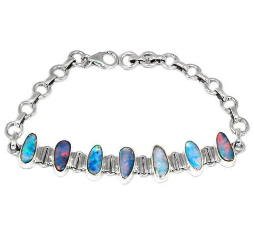 Véritable Australien Opale Bracelet 100% 925 Sterling Argent 18 cm BR0085