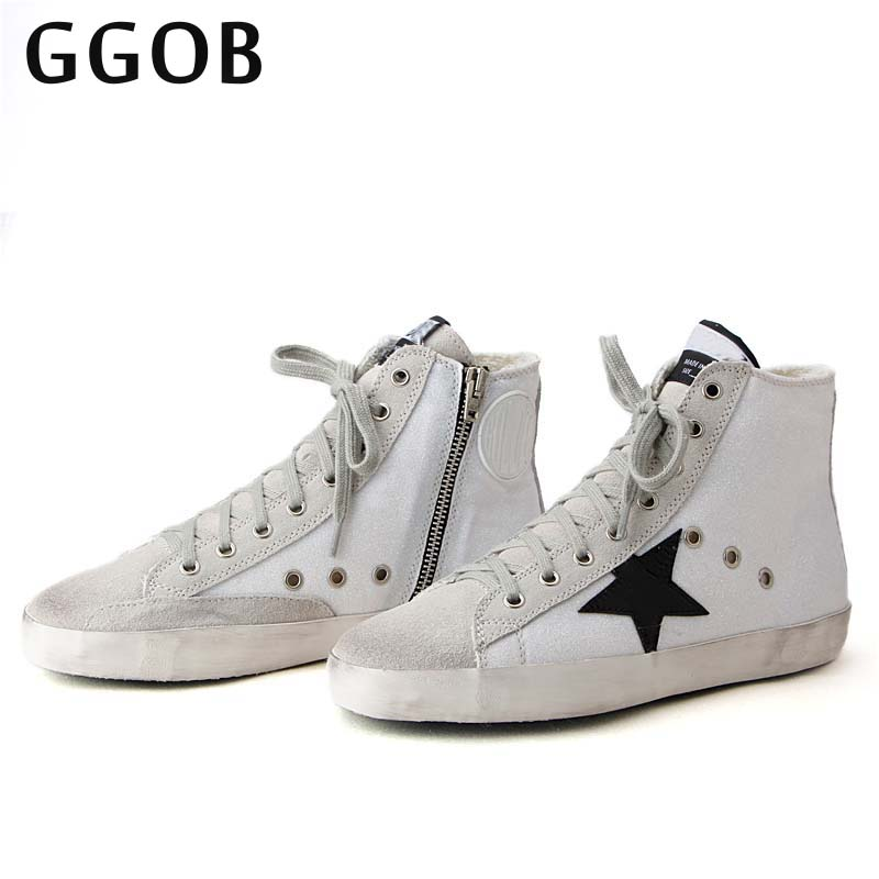 GGOB 2018 Korean Handmade Genuine Cowhide Women Casual Shoes Leather Do Old Dirty Shoes ladies Star trainer leather Shoes Women original handmade autumn women genuine leather shoes cowhide loafers real skin shoes folk style ladies flat shoes for mom sapato