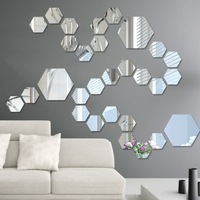 Acrylic Mirror Stereo Wall Stickers Living Room Porch Aisle Staircase Personality Decorative Mirror Stickers Hexagonal Frame