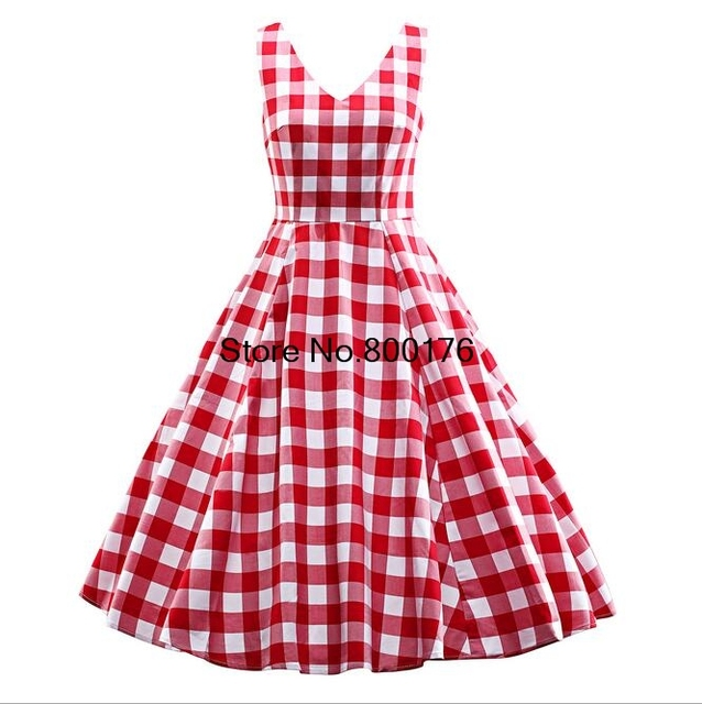 US $26.75 8% OFF|free shipping Sleeveless Rockabilly Dress 50\'s Vintage  Swing dress plaid V neck retro dress plus size s 3xl-in Dresses from  Women\'s ...
