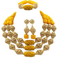 Fashion Yellow Artificial Coral Jewelry Set African Beads Necklace Nigerian Wedding Bridal Jewelry Sets FSH 016