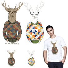 Cool Mr Deer iron patches for T-shirt heat transfers clothes patch stickers Top DIY decoration appliqued Christmas