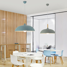 Modern Pendant Lamps E27 Wood Aluminum Hanging Lamp Shade Pendant Lighting
