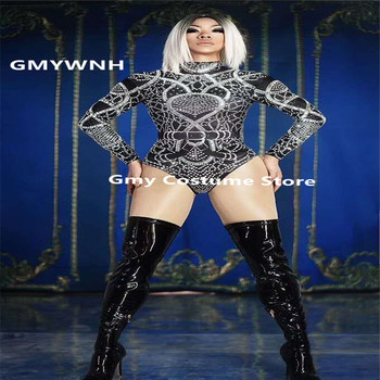 X49 Full diamonds female black bodysuit pole dance jumpsuit singer performance wears Rhinestone outfits printed dress costume dj
