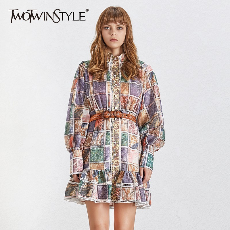 TWOTWINSTYLE 2019 Print Dress Women Vintage Stand Collar Long Lantern Sleeve Sashes Slim Summer Mini Dresses