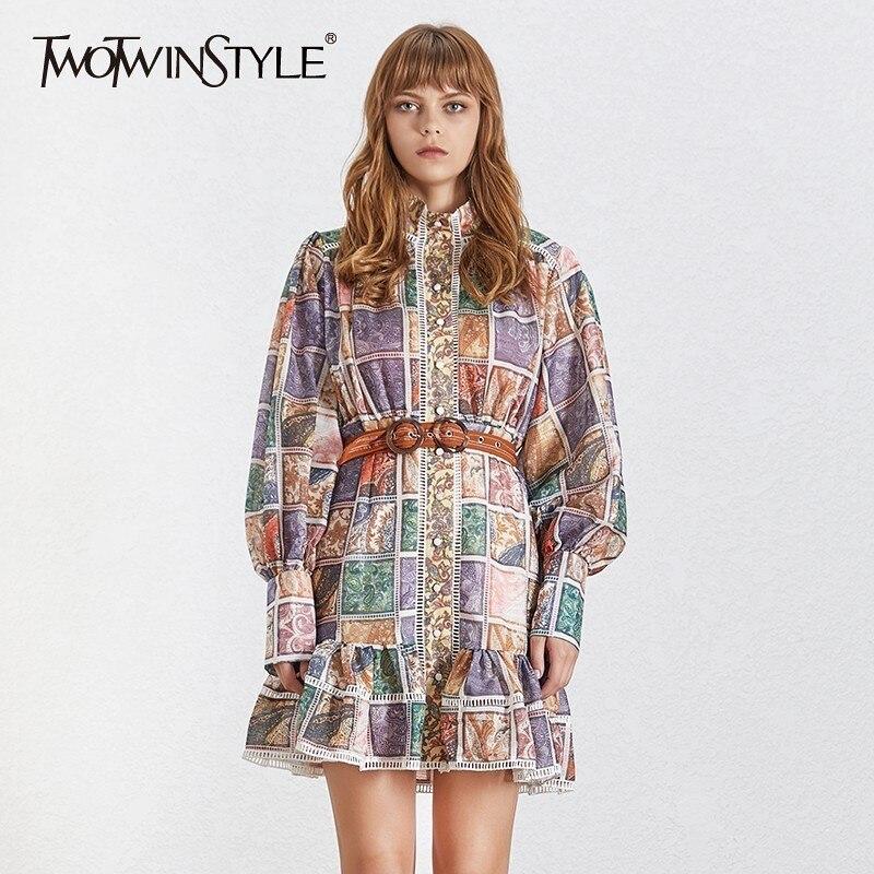 TWOTWINSTYLE 2019 Print Dress Women Vintage Stand Collar Long Lantern Sleeve Sashes Slim Summer Mini Dresses Female Fashion New