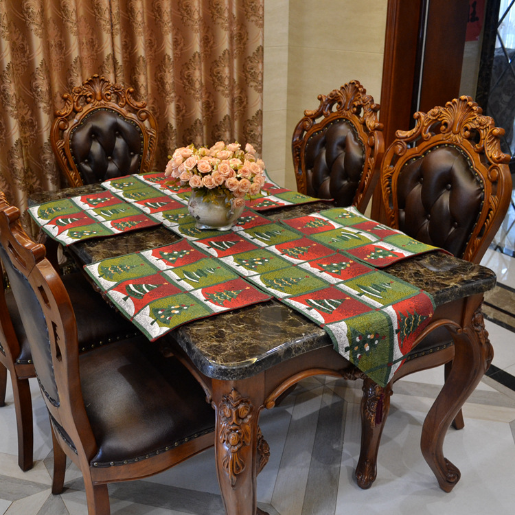 Christmas tree tablecloths cotton jacquard table runner for Chemin de table rennes