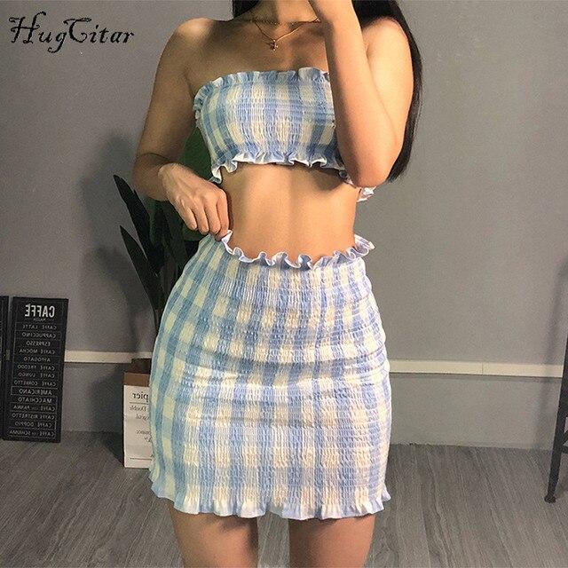 Hugcitar màu xanh dương kẻ sọc Crop bể mini 2 cái Bộ mùa hè 2018 thời trang nữ ôm body gợi cảm Nữ Bộ