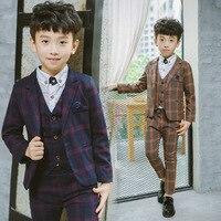 Boys winter suits thicken velvet kids Wedding costume blazer Suits baby Boys Formal School uniform Single Breasted suits set