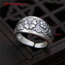 100% 990 Sterling Silver Rings Plum Blossom Carving Vintage Ethnic Style Open Ring for Women Men Antique Jewellery