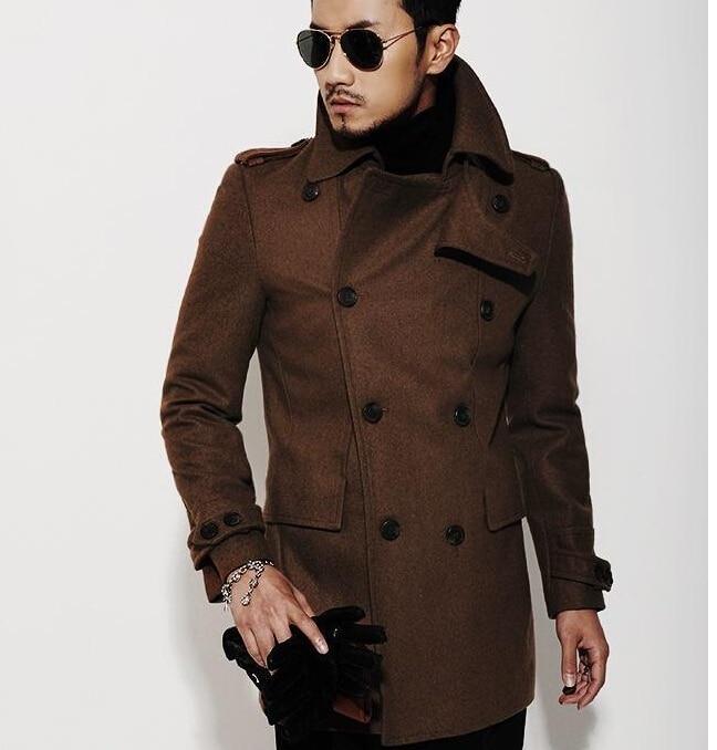 Popular Double Breasted Wool Pea Coat Men-Buy Cheap Double ...