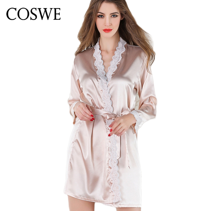 COSWE Brand Robe Bathrobe Satin Lace Silk Robes For Womens Sleepwear Sexy White Pink Plus Size Women Bath Robe Dressing Gowns 1159 fashion ice silk lace sleepshirts for women deep pink black free size