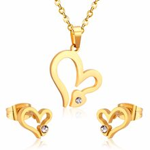 Romantic Bride Necklace Earring Sets Heart Lover Style Jewelry For Wedding Gift(China)