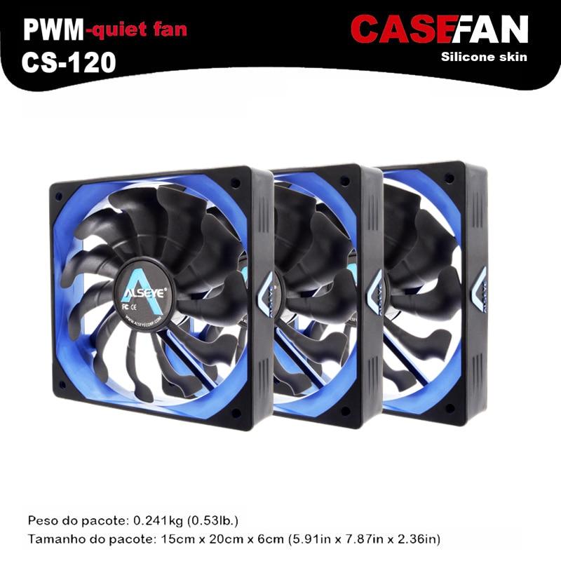 ALSEYE Computer fan (3pieces/lot) 120mm Fan Cooler DC 12v PWM 4pin Silicone Silent Fan for PC Case / CPU Cooler 90x90x25mm 12v 4pin computer pc cpu silent cooling cooler case fan