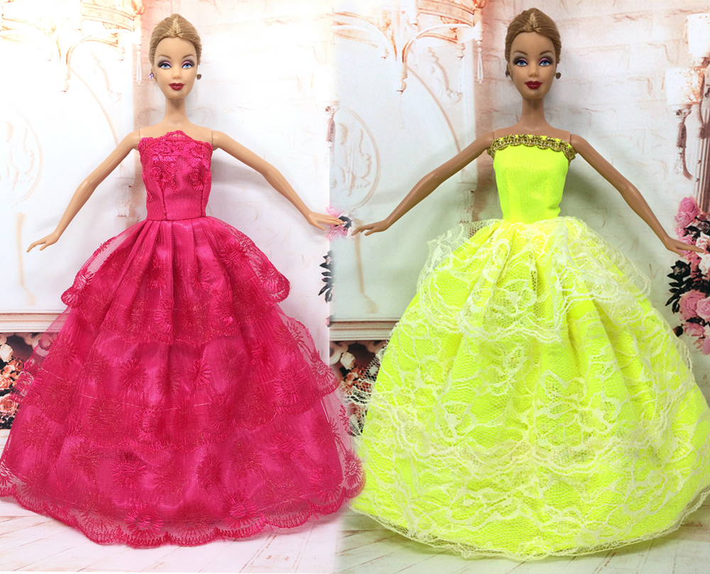 NK Two Set Princess Doll Wedding Dresses Noble Party Gown For Barbie Doll  Fashion Design Outfit Best Gift For Girl  Doll. Barbie Doll Designer Promotion Shop for Promotional Barbie Doll