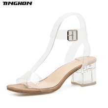 TINGHON Summer Womens PVC Transparent Heels Shoes Sexy Gladiator Sandals Fashion Clear Women Jelly