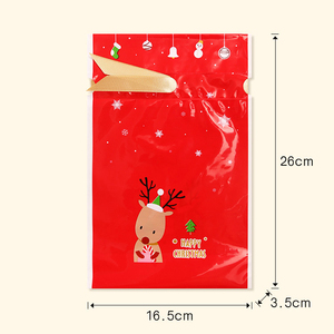 Image 2 - 5pcs Red Plastic Candy Bags Christmas Elk Candy Sweet Treat Bags Xmas Festival Gifts Holders Bake Biscuit Cookies Packaging Bags