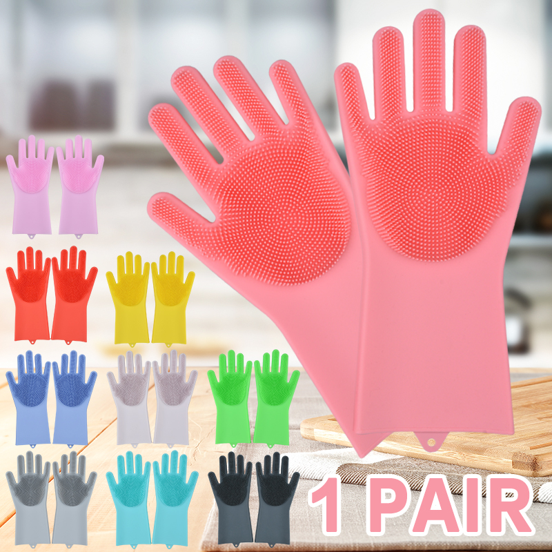 Silicone Dishwashing Gloves Bathroom Kitchen Cleaning Gloves Household Magic Gloves Cleaning For House Insulation Tools|Household Gloves| |  - title=
